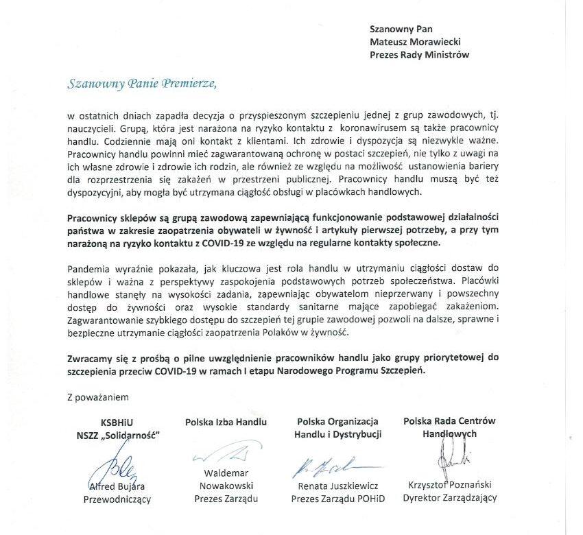 Wspólny apel POHiD, NSZZ Solidarność, PIH, PRCH o szczepienie pracowników handlu w I etapie